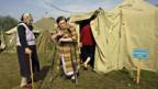 Vertriebene des Kaukasus-Konfliktes im Notlager.