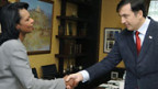 Treffen in Tiflis: Condoleezza Rice (l.) u. Michail Saakaschwili.