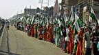 Sie fordern ihr Land zurück - und Zugang zu Wasser, Marsch der Landlosen bei Morena, Indien.