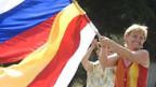 Die Menschen in Zchinwali feiern die Anerkennung als unabhängiger Staat.