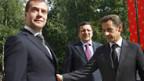 Kleine Schritte aufeinander zu: Russlands Präsident Medwedew und der EU-Ratsvorsitzende Sarkozy.