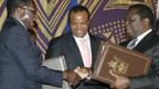 Robert Mugabe (l.) muss nun mit Morgan Tsvangirai (r.) die Macht teilen.