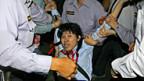 Taiwanesische Gegner der Annäherung protestieren gegen den Besuch aus China.