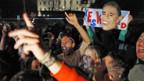 Obama-Fans feiern vor dem Weissen Haus in Washington.