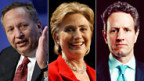 Lawrence Summers, Hillary Clinton und Timothy Geithner, v.l.n.r.