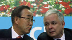 UN-Generalsekretär Ban Ki Moon (l.) und Polens Präsident Lech Kaczynski.