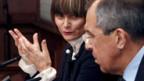 Bundesrätin Micheline Calmy-Rey mit Russlands Aussenminister Sergej Lawrow.