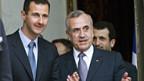 Die Staatschefs von Syrien und Libanon, Assad (l) und Suleiman.