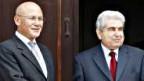 Mehmet Ali Talat (l) und Dimitris Christofias wollen ein einiges Zypern.
