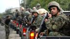 Georgische Soldaten kurz vor der südossetischen Hauptstadt Tshinvali.