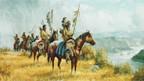 Historische Darstellung von Blackfeet-Indianern.
