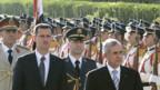 Historische Begegnung: Syriens Präsident Assad und Libanons Staatsoberhupt Suleiman.