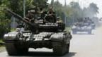 Russische Panzer verlassen Gori.