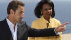 Nicolas Sarkozy (l.) und Condoleezza Rice beraten über den Konflikt im Kaukasus.