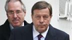 Klaus Zumwinkel (links) verlässt sein Haus.