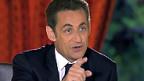 Nicolas Sarkozy während der TV-Ansprache.