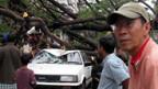 In Rangun sind Bäume auf die Strasse gestürzt.
