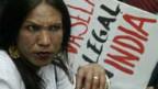 Eine Inderin protestiert gegen Novartis