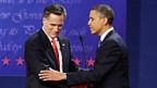 Mitt Romney und Barack Obama nach ihrer ersten Direkt-Begegnung.