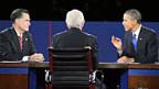 Mitt Romney und Barack Obama während der letzten TV-Debatte