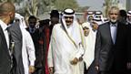 Willkommenszeremonie für den Emir von Katar in Rafah im Gazastreifen.