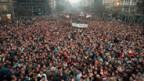 Demonstration auf dem Wenzelplatz 1989 in Prag, um den Systemwechsel zu fordern.