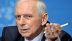 William Lacy Swing während eine Rede in Genf im Januar 2012.