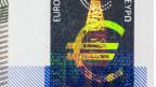 Hologramm auf einer Euro Banknote