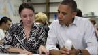 Alexa Kissing (links) und Präsident Barack Obama