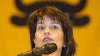 Bundesrätin Doris Leuthard bei ihrer Rede anlässlich der ersten Gotthardkonferenz.