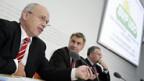 Ueli Maurer, Toni Brunner u. Jean-Francois Rime (v.l.n.r.) zum Thema «Finanzkrise».