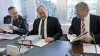 Sicherheitspolitische Kommission mit André Blattmann, Chef Schweizer Armee, BR Samuel Schmid u. Bruno Zuppiger, Präsident SIK-N.