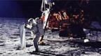 Das Sonnenwindsegel der Uni Bern auf dem Mond.