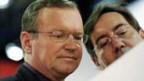 Claude Longchamps (rechts) berechnet für die SRG das Wahlbarometer; links Hannes Britschgi.