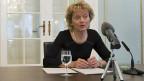 Bundespräsidentin Eveline Widmer-Schlumpf an der Medienkonferenz im Bundeshaus.