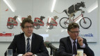 Peter Gfeller, Präsident (rechts) und Albert Rösti, Direktor, von den Schweizer Milchproduzenten SMP, geben ihren Rücktritt bekannt.