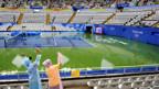 Stundenlanger Regen im Olympic Green Tennis Center in Peking.