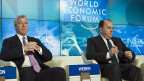 James Dimon von der US-Bank JP Morgan  und Axel Weber von der UBS an der ersten grossen Podiumsdiskussion des diesjährigen WEF