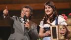 Sandra Ledermann als strahlende Siegerin bei Andy Borg im Silvesterstadl 2012