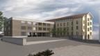 So soll das Bezirksschulhaus Wohlen nach der Sanierung mit dem neuen Anbau ausssehen.