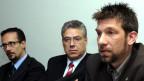 Tomislav Lang (rechts) mit dem Tessiner Ständerat Filippo Lombardi und Alessandro Sozzi vom Flughafen Lugano.
