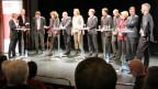 Auf dem Wahlpodium: Die sieben bisherigen Mitglieder des Regierungsrats und drei Mitglieder des Kantonsparlaments.