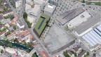 Blick von oben auf das Bieler Stadtzentrum.