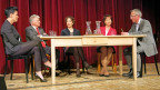 Nadine Borter, Peter Hasler, Michèle Etienne, Suzanne Thoma und Gesprächsleiter Peter Brandenberger (v.l.).