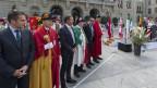 Genf, Neuenburg und Wallis feiern auf dem Bundesplatz.