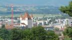 Panoramaansicht von Thun, im Zentrum das Schloss Thun.