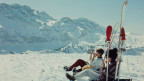 Skifahrerinnen am Pausieren
