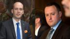 Joël Thüring und Sebastian Frehner lieferten sich in der Öffentlichkeit einen Streit