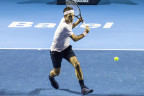 Roger Federer im Einsatz in Basel.