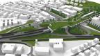 Visualisierung einer Autobahnüberdachung, die mit einem Park versehen werden soll.
